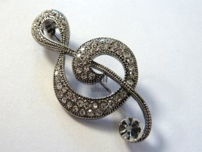 stříbrná brož s kamínky houslový klíč
