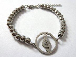 náramek houslový klíč stříbro