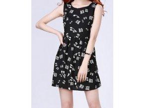 Dívčí šaty s notami - černé