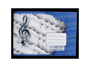 Notový sešit houslový klíč 8 listů, modrý