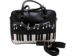 Taška s klaviaturou a výšivkou not černá