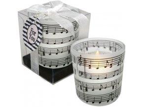 svíčka partitura bílá