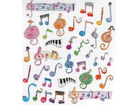 samolepky veselé houslové klíče barevné
