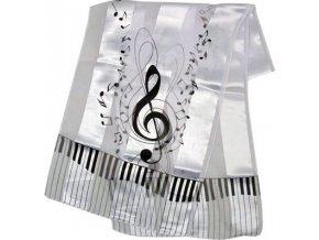 jemný šál houslový klíč bílý
