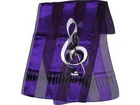 jemný šál houslový klíč fialový