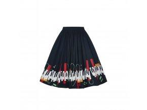 černá sukně s klaviaturou a notami 2