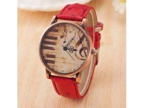 hodinky s houslovým klíčem a klaviaturou červené
