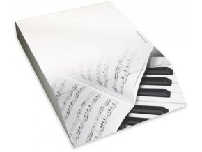 Poznámkový bloček s klaviaturou a partiturou