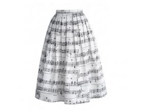 Saténová sukně s notami