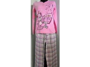 Dámské pyžamo kočička hudebník - světle růžové