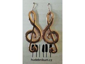 Náušnice houslové klíče, růžové zlato