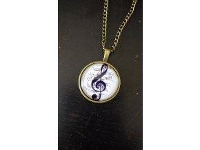Vintage náhrdelník s houslovým klíčem