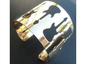 Nasunovací náramek s kytarami - zlatý