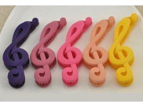 Plastová spona do vlasů houslový klíč - růžová