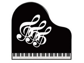 Klipsna na noty s klaviaturou a houslovými klíči - černá