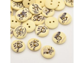 Knoflíky s hudebním motivem - přírodní, 10 ks