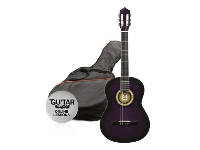 2500442 klasicka kytara paket 12 ashton spcg 12 tp pack fialova