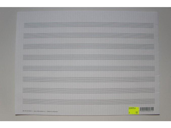 Notový papír 320x229 na šířku, 8 osnov, dvojlist