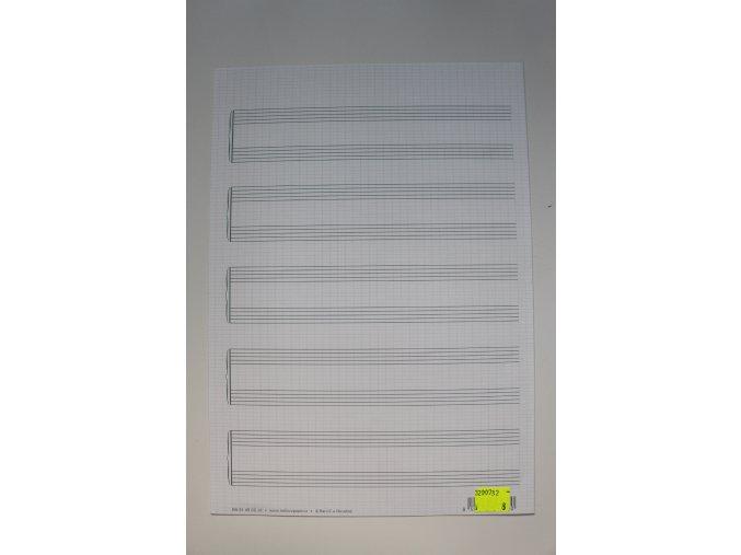Notový papír A4 pro klavír, 5x dvě notové osnovy, dvojlist