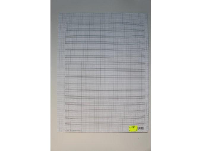 Notový papír 3x A4 skládaný, 12 notových osnov, trojlist