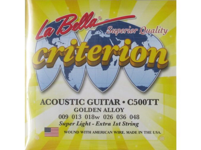 2100595 struny kytarové la bella acoustic guitar criterion golden alloy ultra light 009 048 c500tt + struna E zdarma
