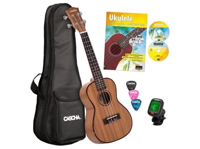 CASCHA hh 2036 ukulele koncertní + zdarma obal,trsátka,ladička,publikace, DVD