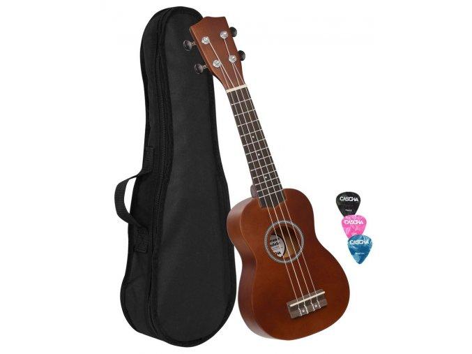 2500078 CASCHA sopránové ukulele zdarma obal a trsátka