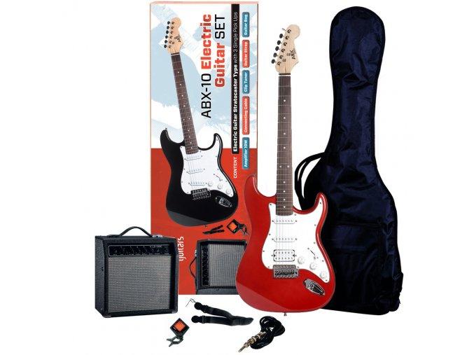 ABX SET červená elektrická kytara kombo obal ladička řemen kabel