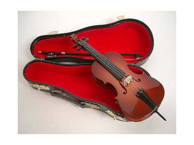 dárek pro muzikanta miniatura cello se smyčcem v kufříku