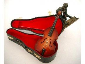 3400008 dárek pro muzikanta miniatura kontrabas v kufříku