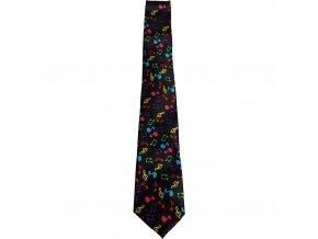 kravata černá barevné noty