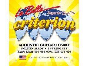 2100019 LA BELLA C500T struny na akustickou kytara + 2 struny navíc