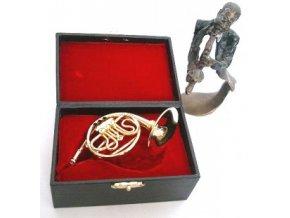 3400027 dárek pro muzikanta miniatura lesní roh v kufříku