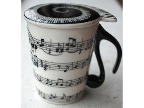 3400107 porcelánový hrnek s pokličkou s hudebním motivem not v krabičce 3