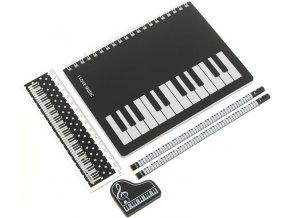 3400110 psací sada s motivem kláves sešit tužky pravítko guma