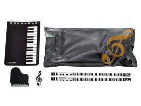 Psací sada (blok, tužky, gumy, obal ) s hudebním motivem kláves a houslovým klíčem