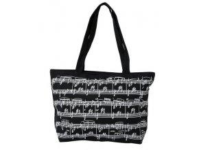 3400111 taška s motivem not dárek pro muzikanty černá látka bílé noty