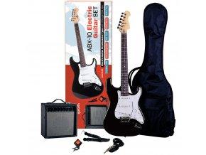 ABX SET černá elektrická kytara kombo obal ladička řemen kabel ABX 10