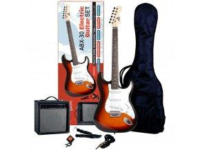 ABX SET elektrická kytara kombo obal ladička řemen kabel