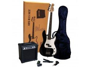 ABX SET černá basová kytara kombo obal ladička řemen kabel ABX 15