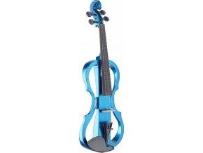 modré elktrické housle STAGG včetně smyčce obalu kalafuny sluchátek