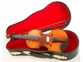 miniatura světlé housle smyčec kufřík