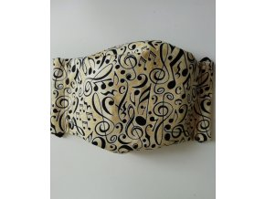 rouška bavlněná s hudebním motivem dvojitá rouška noty