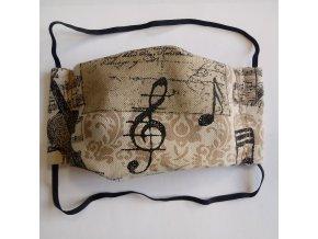 rouška bavlněná s hudebním motivem dvojitá rouška houslový klíč