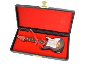 dárek pro muzikanta miniatura elektrická kytara model STRAT v kufříku