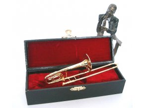 dárek pro muzikanta miniatura pozoun v kufříku