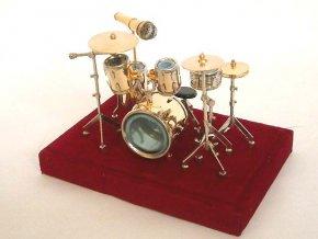 dárek pro bubeníka miniatura bicí soupravy s průhledným poklopem
