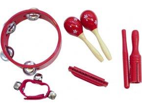 dětské hudební nástroje DP564 sada tamburína foukací harmonika maracas rolničky rourkový bubínek