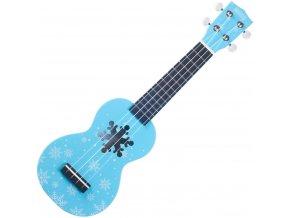 Mahalo ukulele s otvorem sněhové vločky modré