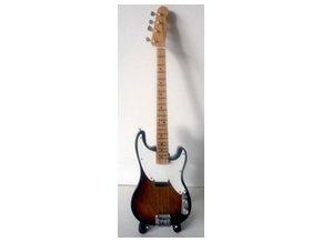 dárek pro baskytaristu mini baskytara 25cm se skládacím stojánkem sting police fender precision bass sunburst.